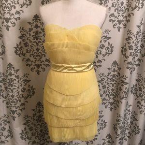 ASOS yellow mini strapless dress